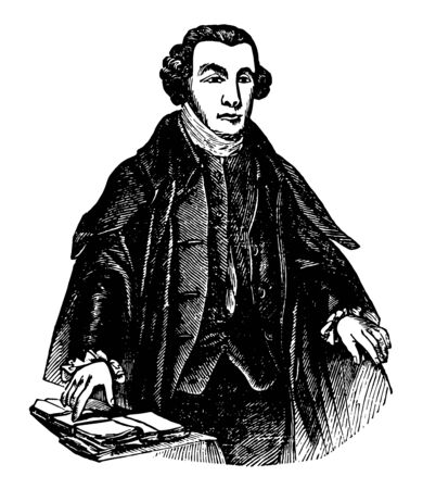 Patrick Henry, 1736-1799, he was an American attorney, planter, orator, and the first and sixth post-colonial governor of Virginia, famous for his declaration to the Second Virginia Convention, vintage line drawing or engraving illustration Ilustrace