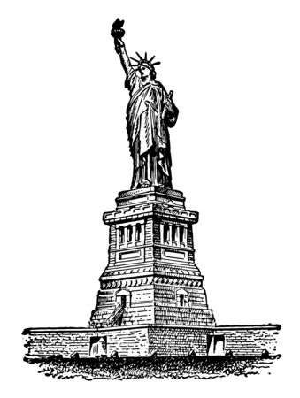 Statue of liberty is a copper statue located on liberty island, New york harbor, new york city, US vintage line drawing.
