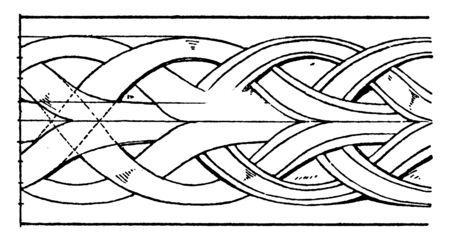 Medieval Enrichment Torus Moulding are ribbons with twisted, bundle of round rods, northern interlacement band, vintage line drawing or engraving illustration.