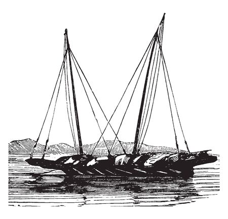 Pindjajap is a boat of Sumatra and the Malay archipelago with from one to three masts generally two carrying square sails, vintage line drawing or engraving illustration.