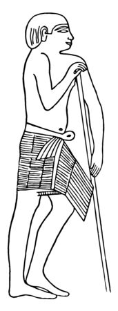 Illustration of a man wearing a triangular wrap skirt with a belt in the waist which is worn by Egyptian priests during the 5th dynasty, vintage line drawing or engraving illustration. Stock fotó - 133064652