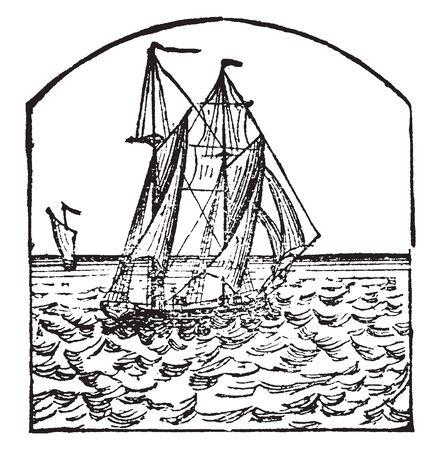 La goélette est un petit navire de construction pointue ayant généralement deux mâts avec des voiles avant et arrière, un dessin de ligne vintage ou une illustration de gravure. Vecteurs