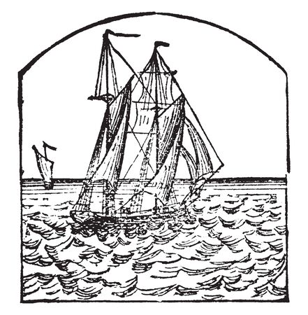 Schooner is a small sharp built vessel usually having two masts with fore and aft sails, vintage line drawing or engraving illustration. Çizim