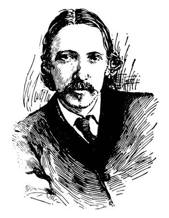 Robert Louis Stevenson, 1850-1894, he was a Scottish novelist, poet, essayist, and travel writer, vintage line drawing or engraving illustration