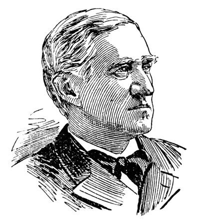 Thomas Francis Bayard, 1828-1898, he was an American lawyer, politician, and diplomat who served as U.S. senator from Delaware, vintage line drawing or engraving illustration  イラスト・ベクター素材