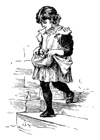 Heidi, this scene shows a little girl carrying kittens in her apron and walking downstairs, vintage line drawing or engraving illustration