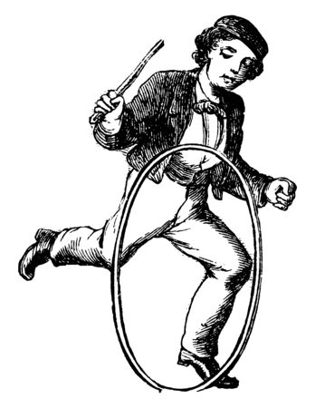 A boy playing with toy hoop by hands and hoop is rolling in ground, vintage line drawing or engraving illustration. Banque d'images - 133481669