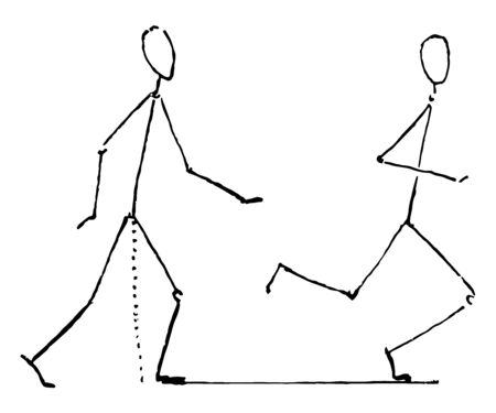Two toothpick images: out of which, one is showing the run & other is showing the walk, vintage line drawing or engraving illustration.