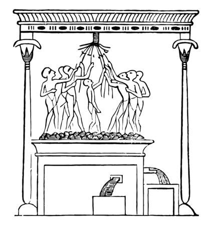 An illustration of Egyptians using a wine press, vintage line drawing or engraving illustration. 向量圖像