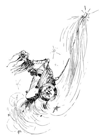 A Joker riding a chariot connected to a star, vintage line drawing or engraving illustration. Ilustracja