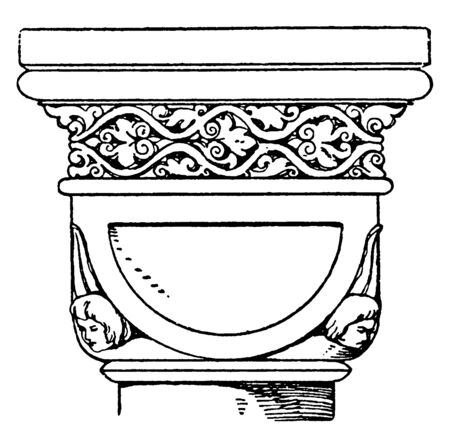 Romanesque Double-Cushion Capital,  design of a half sphere, cut by planes below and on the four sides,  Romanesque Architecture, vintage line drawing or engraving illustration. 向量圖像