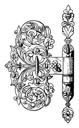 Door Hinge is a 16th century German design, wide throw and ball-bearing, vintage line drawing or engraving illustration.