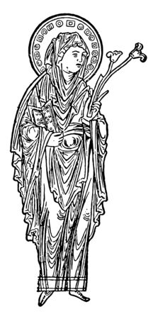 Virgin Mary, she was a first-century BC Galilean Jewish woman of Nazareth, and the mother of Jesus, vintage line drawing or engraving illustration Ilustrace