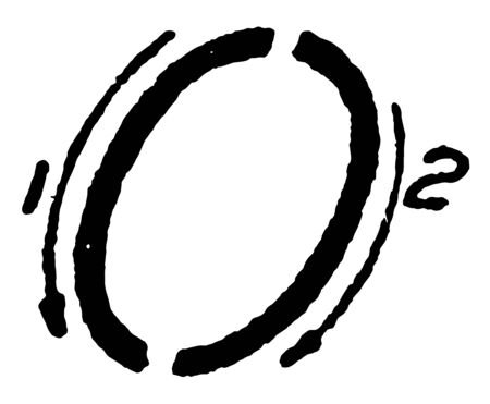 This is an image of the writing of the capital number inclined 0 with suitable strokes, vintage line drawing or engraving illustration. 向量圖像