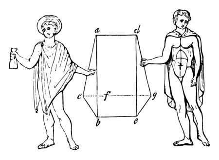 Ancient Greeks wearing cloaks called Chlamys, vintage line drawing or engraving illustration.