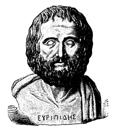 A Roman marble statue of Euripides, vintage line drawing or engraving illustration. Standard-Bild - 133066420