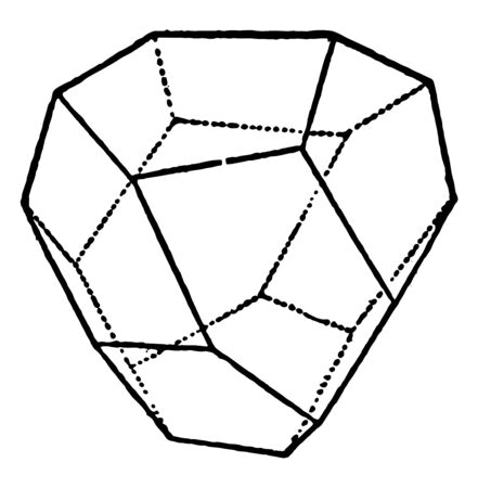 A diagram of Tetrahedral Pentagonal Dodecahedron. This is limited by twelve irregular pentagons, and is a Tetrahedral face or quarter hexakis-octahedron, vintage line drawing or engraving illustration. 向量圖像