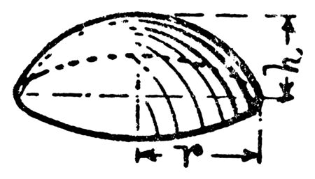 A cut of a sphere by a plane is called a sphere segment or spherical segment, vintage line drawing or engraving illustration.