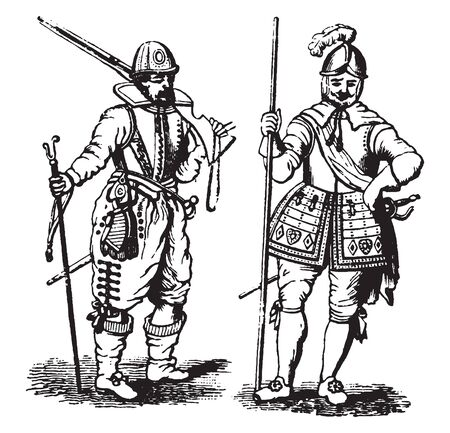 Pikemen from the Time of James I taken from a broadside held by the Society of Antiquaries at the turn of the twentieth, vintage line drawing or engraving illustration. 向量圖像
