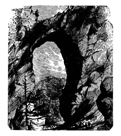 Natural Bridge, in which Cedar Creek a small tributary of the James River has carved out a gorge in the mountainous limestone terrain, Virginia vintage line drawing.