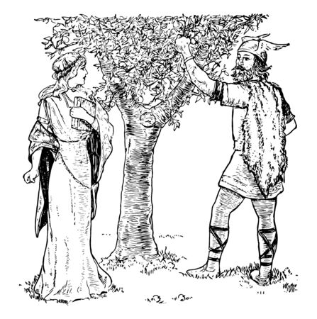 Loki, the god of mischief, trying to convince Idun that a crabapple trees fruit is better than her golden apples. Loki is doing this to obtain some golden apple for the giant Thiassi, vintage line drawing or engraving illustration. Illustration