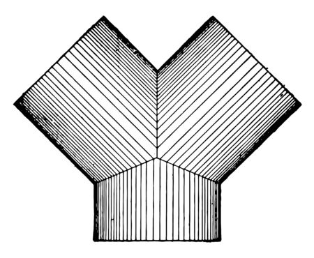 There are three cylinders attached to a center. Intersection of the same diameter three cylinders, vintage line drawing or engraving illustration. Illusztráció