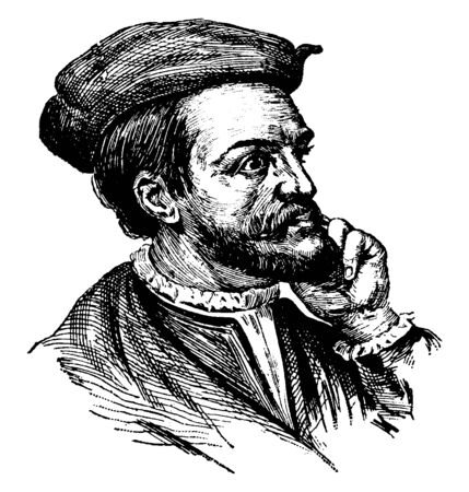Jacques Cartier, 1491-1557, he was a mariner and Breton explorer who claimed what is now Canada for France, vintage line drawing or engraving illustration