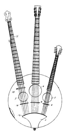 Multiple Stringed Musical instrument is a combination of a banjo, vintage line drawing or engraving illustration.