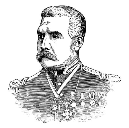 Porifirio diaz was president of Mexico from 1876-1880, served seven times as an president vintage line drawing.