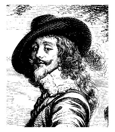 Charles I attended by the Marquis of Hamilton, 1600-1649, he was king of the three kingdoms of England, Scotland, and Ireland from 1625 to 1649, vintage line drawing or engraving illustration 일러스트