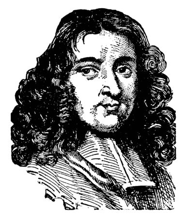 Pierre Bayle, 1647-1706, he was French philosopher, protestant, and writer, famous for seminal work the historical and critical dictionary, vintage line drawing or engraving illustration