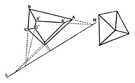 A diagram showing the orthogonal projection of a closed polyhedron with a flat face, vintage line drawing or engraving illustration.