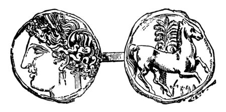 The obverse of the coin is from the emperor and the back of the coin has the horse galloping to the right, vintage line drawing or engraving illustration.
