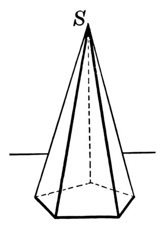 Image of a regular pyramid with a pentagon as a base, vintage line drawing or engraving illustration.