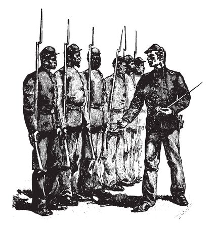 African American Soldiers standing in line with commander, vintage line drawing or engraving illustration