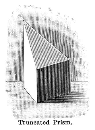 The image shows a truncated prism: the part of a prism included between the base and a section made by an oblique plane to the base, vintage line drawing or engraving illustration.