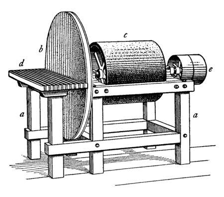This illustration represents function of Disk and Drum Sander, vintage line drawing or engraving illustration. Banque d'images - 133066615