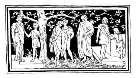 A group of Greeks under a tree, vintage line drawing or engraving illustration. 向量圖像