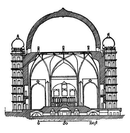 Gol Gumbaz (Section), bijapur, indian sultan, mausoleum, mohammed adil shah, tomb of mahmud, vintage line drawing or engraving illustration.
