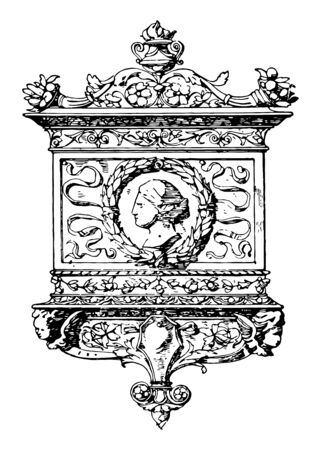 Tablet Frame was in the style of the Italian Renaissance, It had the general shape of an erect triangle, vintage line drawing or engraving illustration. Ilustração