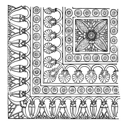 Wood engraving of decoration of an arch of the Assyrian portal, decoration of a door arch of the Palace of the North, Nineveh, vintage line drawing or engraving illustration.