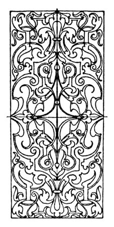 Ivory Inlay Oblong Panel is a 16th century design, vintage line drawing or engraving illustration.
