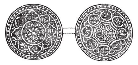 Tibet Coin which was not approved by the Imperial authorities of China, vintage line drawing or engraving illustration.