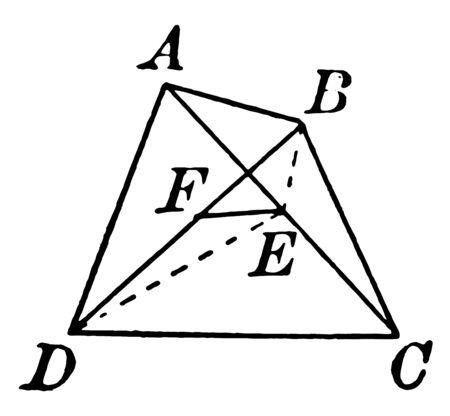 Una imagen que muestra un cuadrilátero. Un cuadrilátero con diagonales que se cruzan, línea vintage de dibujo o ilustración de grabado. Ilustración de vector