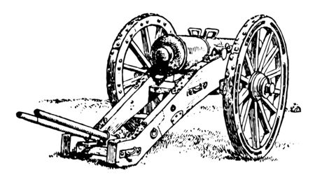 This image represents Cannon used at the time of the American Revolution, vintage line drawing or engraving illustration.