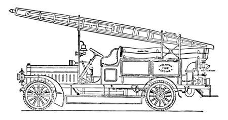 A type of fire brigade that has many cylinders in it and it is used to extinguish fire with Centrifugal Pump, vintage line drawing or engraving illustration.