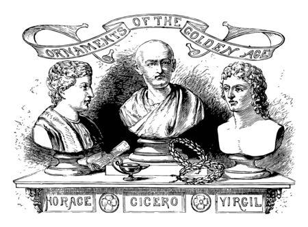 Head sculptures of Cicero, vintage line drawing or engraving illustration. Çizim