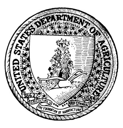 The seal of the Department of Agriculture of the United States, this circle shape seal has shield, shield has plow and bushes, five pointed stars around shield, vintage line drawing or engraving illustration  Ilustração