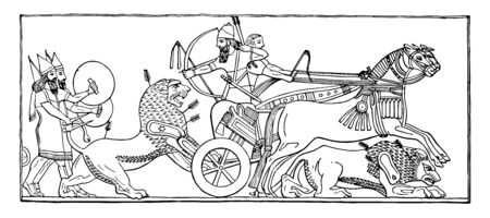 The image shows Bas Assyria. It is also called as Carro and in which two kings are present. There is a lion that gets together in the car and two humans following that lion, vintage line drawing or engraving illustration.