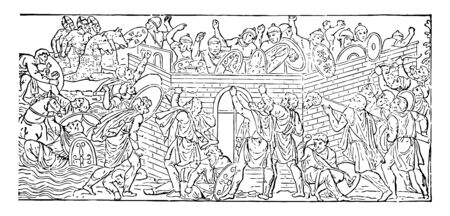 Two armies fighting each other. One is behind a stone wall and another army stands outside the wall, vintage line drawing or engraving illustration.